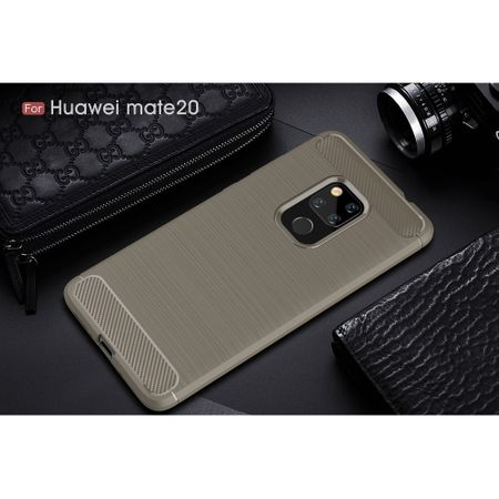 Huawei Mate 20 TPU Case Carbon Fiber Optik Brushed Schutz Hülle Grau – Bild 2
