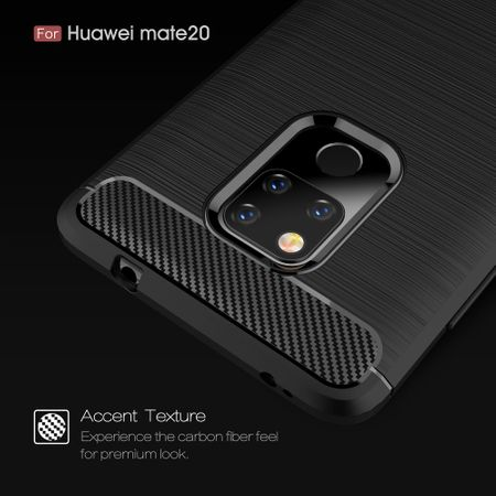 Huawei Mate 20 TPU Case Carbon Fiber Optik Brushed Schutz Hülle Grau – Bild 6