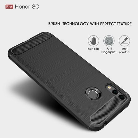 Huawei Honor 8C TPU Case Carbon Fiber Optik Brushed Schutz Hülle Schwarz – Bild 5