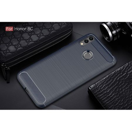 Huawei Honor 8C TPU Case Carbon Fiber Optik Brushed Schutz Hülle Blau – Bild 2