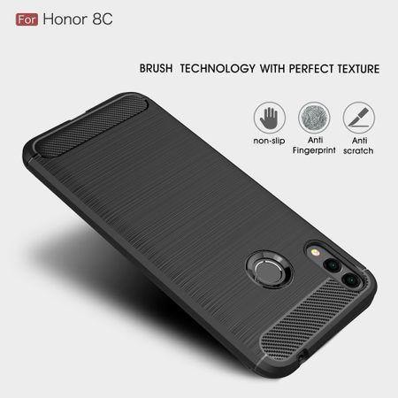Huawei Honor 8C TPU Case Carbon Fiber Optik Brushed Schutz Hülle Blau – Bild 5