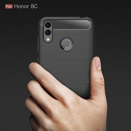 Huawei Honor 8C TPU Case Carbon Fiber Optik Brushed Schutz Hülle Grau – Bild 8