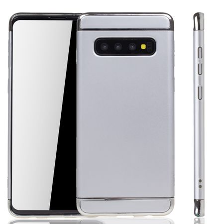 Samsung Galaxy S10 Plus Handy Hülle Schutz Case Bumper Hard Cover Silber