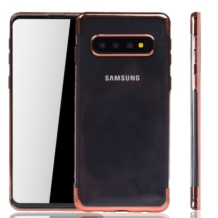 Handyhülle für Samsung Galaxy S10 Rose Pink - Clear - TPU Silikon Case Backcover Schutzhülle in Transparent / glänzender Rand Rose Pink
