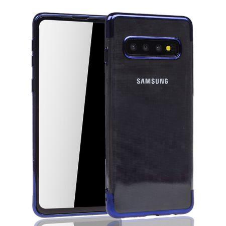 Handyhülle für Samsung Galaxy S10 Blau - Clear - TPU Silikon Case Backcover Schutzhülle in Transparent / glänzender Rand Blau – Bild 2