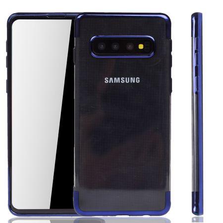 Handyhülle für Samsung Galaxy S10 Blau - Clear - TPU Silikon Case Backcover Schutzhülle in Transparent / glänzender Rand Blau – Bild 1