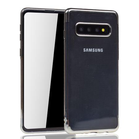 Handyhülle für Samsung Galaxy S10 Plus Silber - Clear - TPU Silikon Case Backcover Schutzhülle in Transparent / glänzender Rand Silber – Bild 2