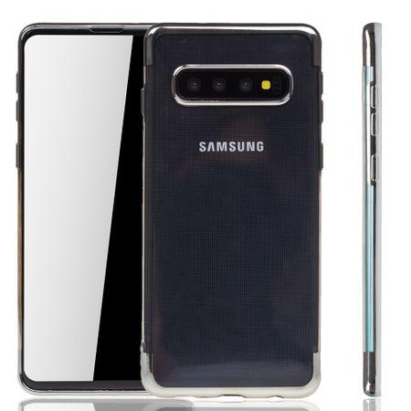 Handyhülle für Samsung Galaxy S10 Plus Silber - Clear - TPU Silikon Case Backcover Schutzhülle in Transparent / glänzender Rand Silber