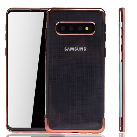 Handyhülle für Samsung Galaxy S10 Plus Rose Pink - Clear - TPU Silikon Case Backcover Schutzhülle in Transparent / glänzender Rand Rose Pink