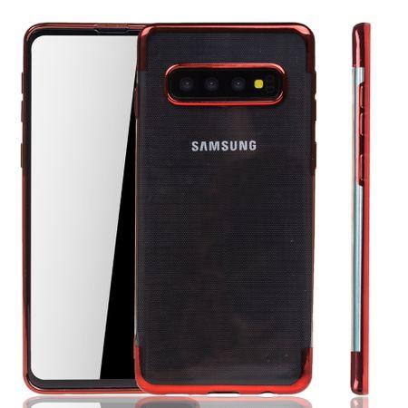 Handyhülle für Samsung Galaxy S10 Plus Rot - Clear - TPU Silikon Case Backcover Schutzhülle in Transparent / glänzender Rand Rot – Bild 1