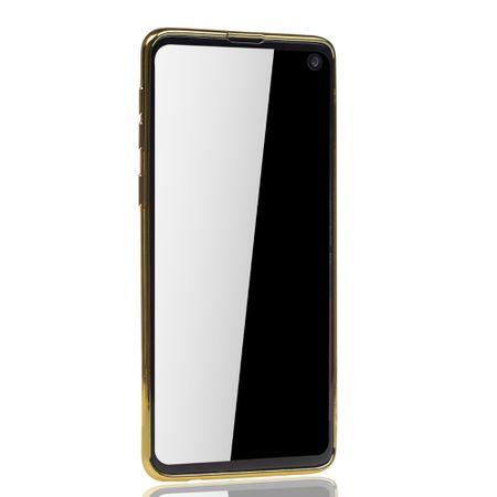 Handyhülle für Samsung Galaxy S10 Plus Gold - Clear - TPU Silikon Case Backcover Schutzhülle in Transparent / glänzender Rand Gold – Bild 3