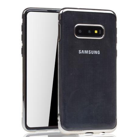 Handyhülle für Samsung Galaxy S10e Silber - Clear - TPU Silikon Case Backcover Schutzhülle in Transparent / glänzender Rand Silber – Bild 2