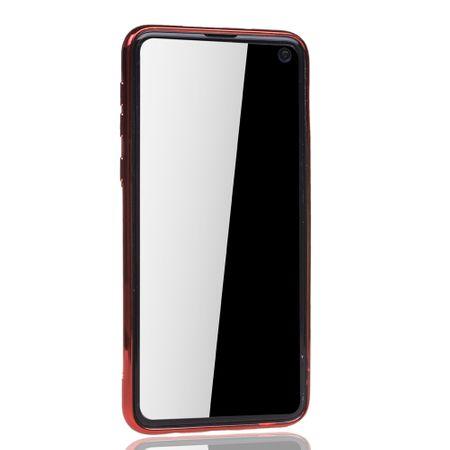 Handyhülle für Samsung Galaxy S10e Rot - Clear - TPU Silikon Case Backcover Schutzhülle in Transparent / glänzender Rand Rot – Bild 3