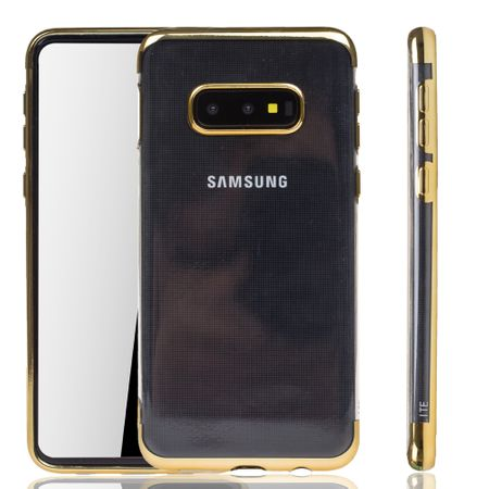 Handyhülle für Samsung Galaxy S10e Gold - Clear - TPU Silikon Case Backcover Schutzhülle in Transparent / glänzender Rand Gold – Bild 1