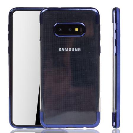 Handyhülle für Samsung Galaxy S10e Blau - Clear - TPU Silikon Case Backcover Schutzhülle in Transparent / glänzender Rand Blau – Bild 1