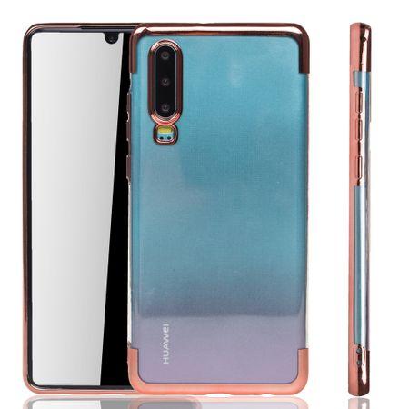 Handyhülle für Huawei P30 Rose Pink - Clear - TPU Silikon Case Backcover Schutzhülle in Transparent / glänzender Rand Rose Pink