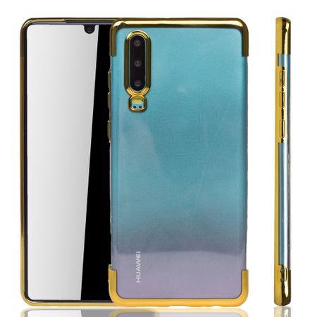 Handyhülle für Huawei P30 Gold - Clear - TPU Silikon Case Backcover Schutzhülle in Transparent / glänzender Rand Gold