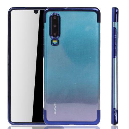 Handyhülle für Huawei P30 Blau - Clear - TPU Silikon Case Backcover Schutzhülle in Transparent / glänzender Rand Blau