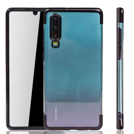 Handyhülle für Huawei P30 Schwarz - Clear - TPU Silikon Case Backcover Schutzhülle in Transparent / glänzender Rand Schwarz
