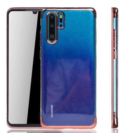 Handyhülle für Huawei P30 Pro Rose Pink - Clear - TPU Silikon Case Backcover Schutzhülle in Transparent / glänzender Rand Rose Pink