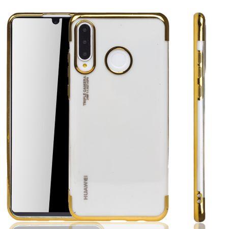 Handyhülle für Huawei P30 Lite Gold - Clear - TPU Silikon Case Backcover Schutzhülle in Transparent / glänzender Rand Gold