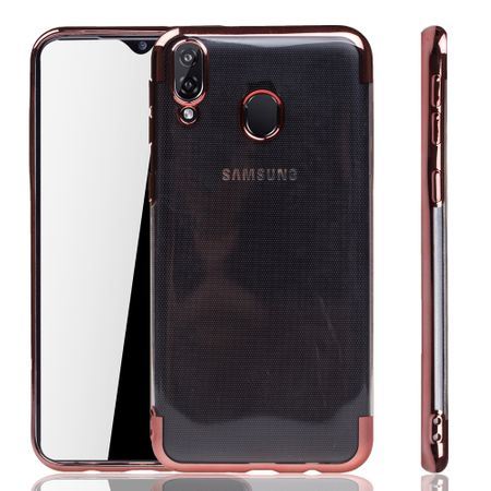 Handyhülle für Samsung Galaxy M20 Rose Pink - Clear - TPU Silikon Case Backcover Schutzhülle in Transparent / glänzender Rand Rose Pink