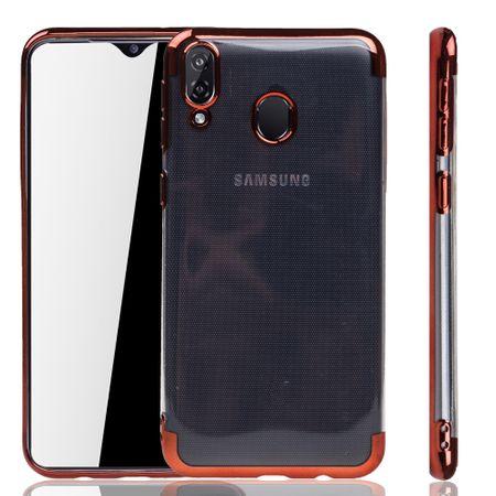 Handyhülle für Samsung Galaxy M20 Rot - Clear - TPU Silikon Case Backcover Schutzhülle in Transparent / glänzender Rand Rot