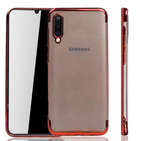 Handyhülle für Samsung Galaxy A50 Rot - Clear - TPU Silikon Case Backcover Schutzhülle in Transparent / glänzender Rand Rot