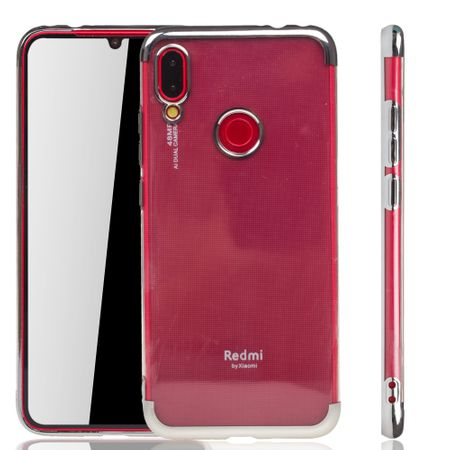Handyhülle für Xiaomi Redmi Note 7 Pro Silber - Clear - TPU Silikon Case Backcover Schutzhülle in Transparent / glänzender Rand Silber