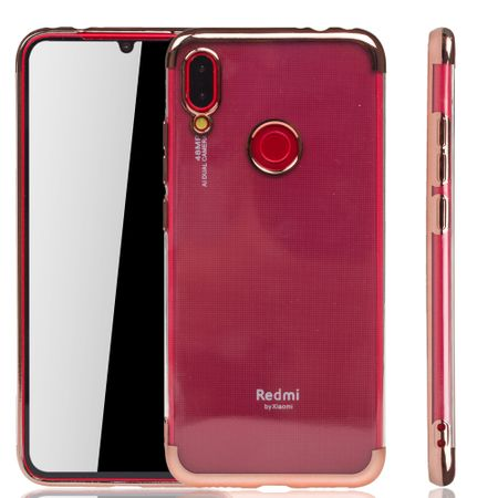 Handyhülle für Xiaomi Redmi Note 7 Pro Rose Pink - Clear - TPU Silikon Case Backcover Schutzhülle in Transparent / glänzender Rand Rose Pink