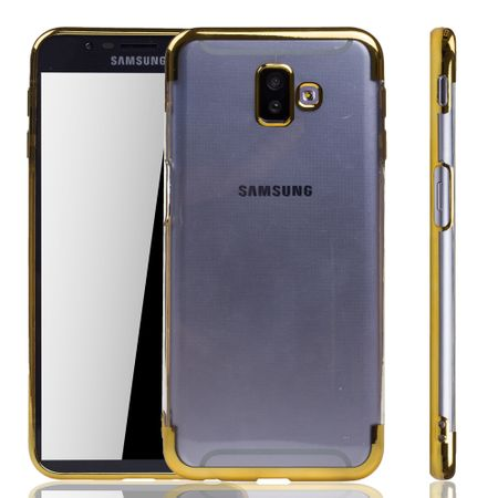 Handyhülle für Samsung Galaxy J6+ Plus Gold - Clear - TPU Silikon Case Backcover Schutzhülle in Transparent / glänzender Rand Gold