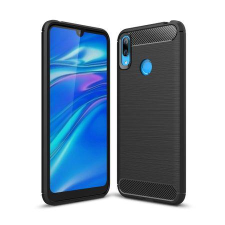 Huawei Y7 2019 TPU Case Carbon Fiber Optik Brushed Schutz Hülle Schwarz