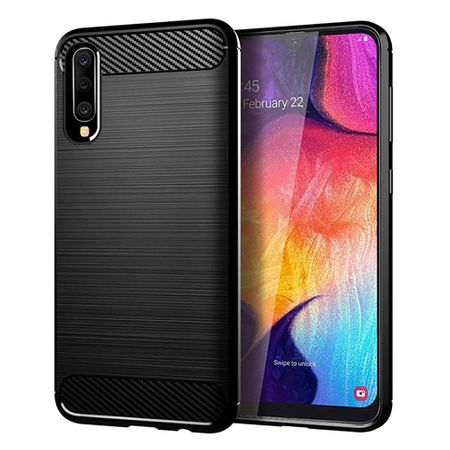 Samsung Galaxy A50 TPU Case Carbon Fiber Optik Brushed Schutz Hülle Schwarz