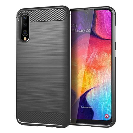 Samsung Galaxy A50 TPU Case Carbon Fiber Optik Brushed Schutz Hülle Grau
