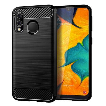 Samsung Galaxy A40 TPU Case Carbon Fiber Optik Brushed Schutz Hülle Schwarz