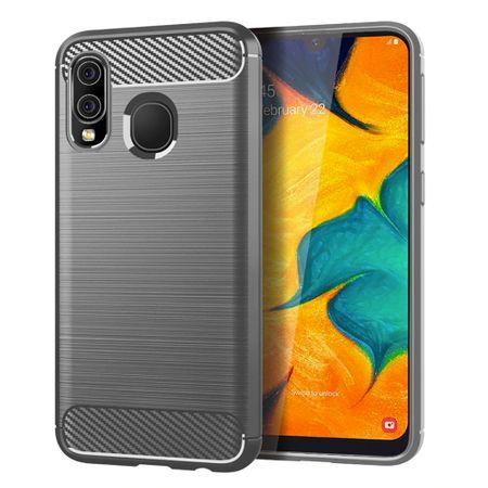 Samsung Galaxy A40 TPU Case Carbon Fiber Optik Brushed Schutz Hülle Grau