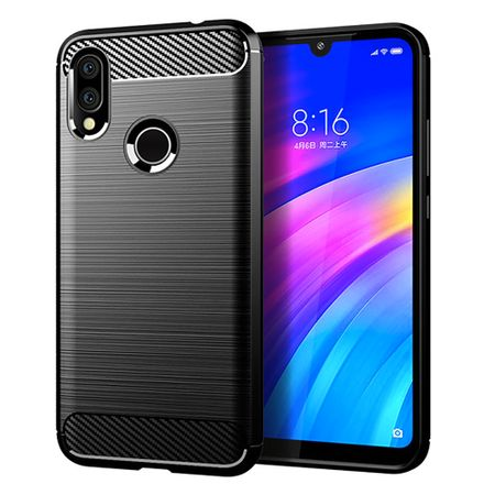 Xiaomi Redmi 7 TPU Case Carbon Fiber Optik Brushed Schutz Hülle Schwarz