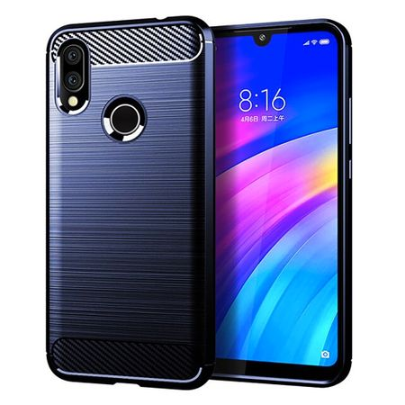 Xiaomi Redmi 7 TPU Case Carbon Fiber Optik Brushed Schutz Hülle Blau