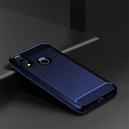 Xiaomi Redmi 7 TPU Case Carbon Fiber Optik Brushed Schutz Hülle Blau – Bild 2