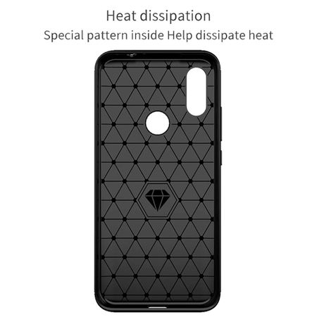 Xiaomi Redmi 7 TPU Case Carbon Fiber Optik Brushed Schutz Hülle Blau – Bild 4
