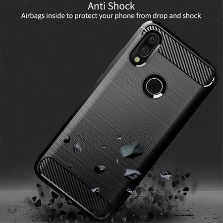 Xiaomi Redmi 7 TPU Case Carbon Fiber Optik Brushed Schutz Hülle Blau – Bild 5