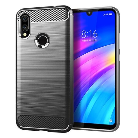 Xiaomi Redmi 7 TPU Case Carbon Fiber Optik Brushed Schutz Hülle Grau