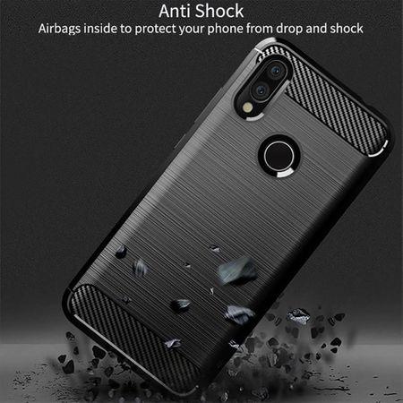 Xiaomi Redmi 7 TPU Case Carbon Fiber Optik Brushed Schutz Hülle Grau – Bild 5
