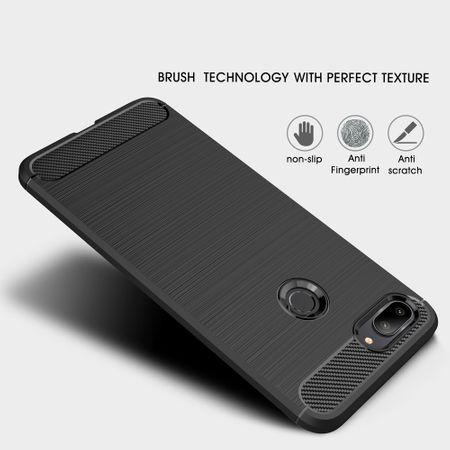 Xiaomi Mi 8 Lite TPU Case Carbon Fiber Optik Brushed Schutz Hülle Blau – Bild 2