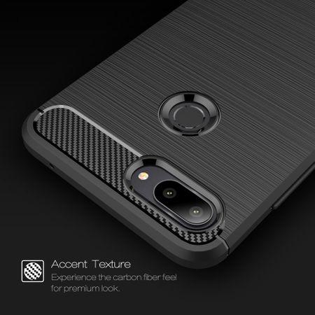 Xiaomi Mi 8 Lite TPU Case Carbon Fiber Optik Brushed Schutz Hülle Blau – Bild 3