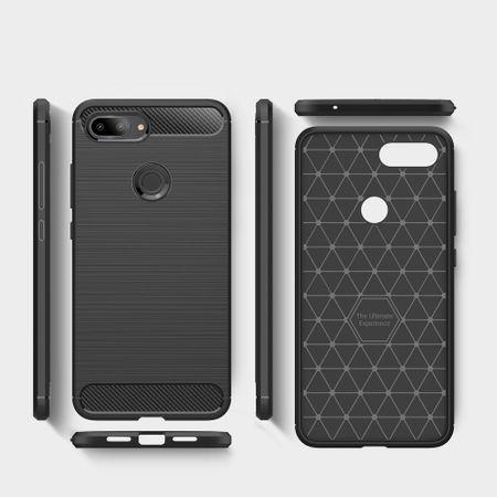 Xiaomi Mi 8 Lite TPU Case Carbon Fiber Optik Brushed Schutz Hülle Blau – Bild 7