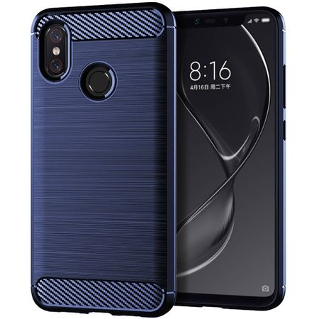 Xiaomi Mi 8 TPU Case Carbon Fiber Optik Brushed Schutz Hülle Blau – Bild 1