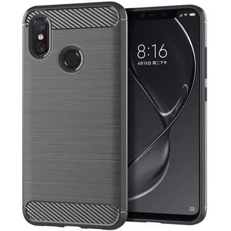 Xiaomi Mi 8 TPU Case Carbon Fiber Optik Brushed Schutz Hülle Grau
