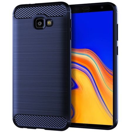 Samsung Galaxy J4+ Plus TPU Case Carbon Fiber Optik Brushed Schutz Hülle Blau