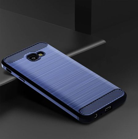 Samsung Galaxy J4+ Plus TPU Case Carbon Fiber Optik Brushed Schutz Hülle Blau – Bild 2